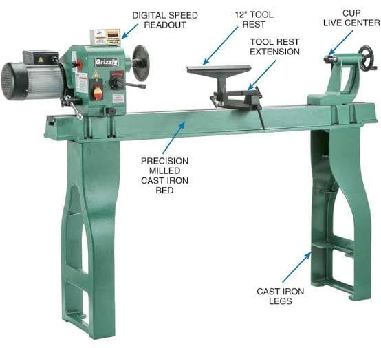 grizzly wood lathe features